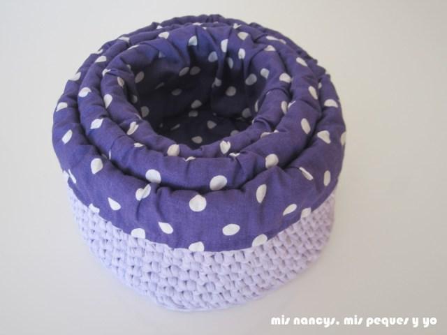 mis nancys, mis peques y yo, cestas redondas de trapillo con fundas de tela, tres cestas en una