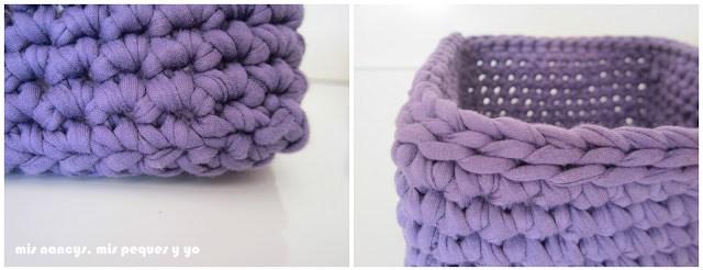mis nancys, mis peques y yo, tutorial DIY cestas cuadradas de trapillo, detalle