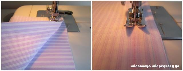 mis nancys, mis peques y yo, tutorial DIY funda cestas, coser base a tela lateral