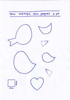 mis nancys, mis peques y yo, tutorial aplique en camiseta, birds in love, patrón despiece