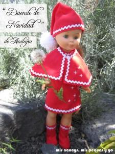 mis nancys, mis peques y yo, disfraz duende de Navidad para nancy de Anilegra