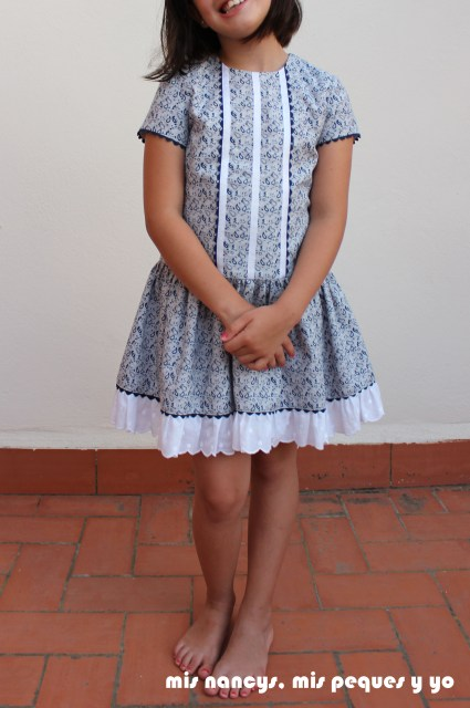 mis nancys, mis peques y yo, vestido talle bajo para niñas, vestido talla 7 delantero