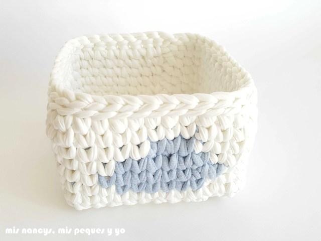 mis nancys, mis peques y yo, cesta y capazo de trapillo con nubes, detalle cesta cuadrada con nube