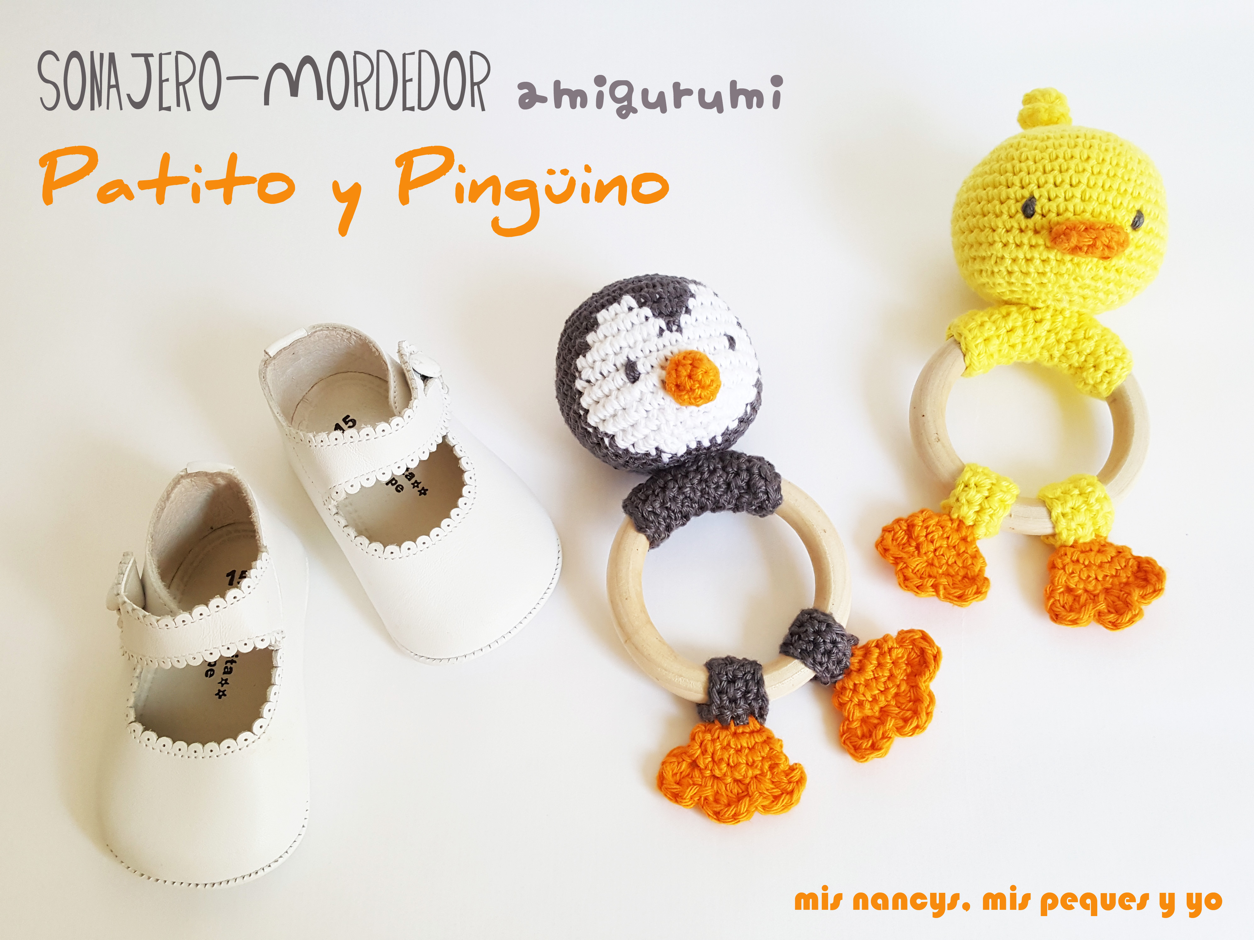 Sonajero mordedor amigurumi: Patito y Pingüino