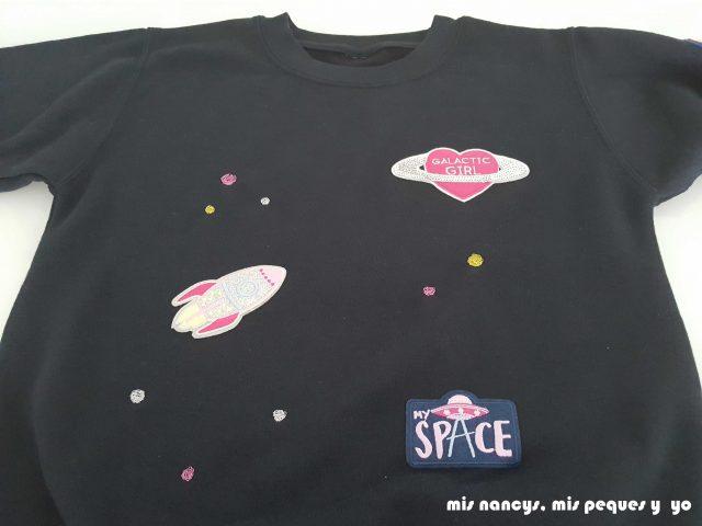 """mis nancys, mis peques y yo, tutorial aplique en sudadera """"en el espacio"""", bordar con punto cadeneta planetas"""