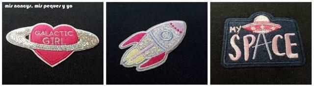 """mis nancys, mis peques y yo, tutorial aplique en sudadera """"en el espacio"""", apliques nave espacial y planetas"""