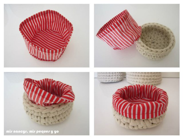 mis nancys, mis peques y yo, juego de tres cestas de trapillo redondas, con fundas de tela intercambiables