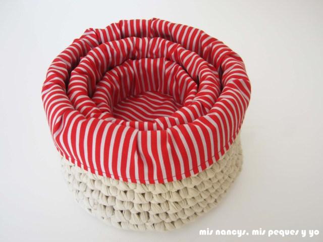 mis nancys, mis peques y yo, juego de tres cestas de trapillo redondas, una cesta dentro de la otra