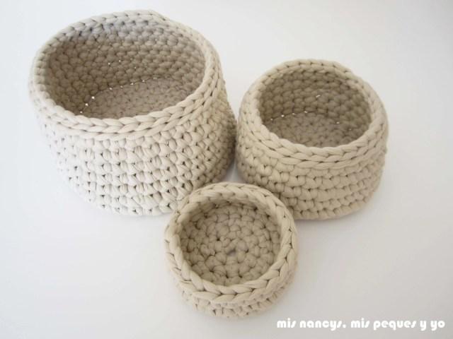 mis nancys, mis peques y yo, juego de tres cestas de trapillo redondas, tres tamaños