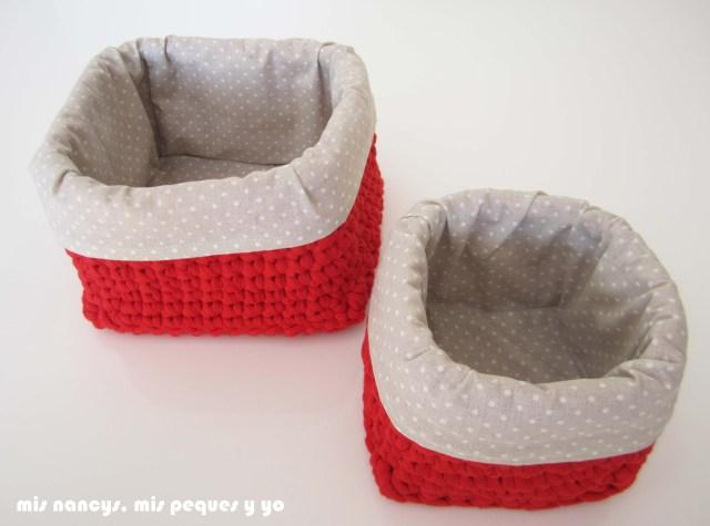 mis nancys, mis peques y yo, juego de dos cestas de trapillo cuadradas con funda de tela, dos tamaños