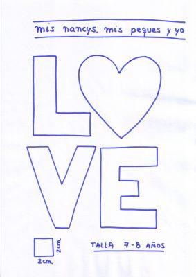 mis nancys, mis peques y yo, tutorial aplique en camiseta love, patron talla 7-8