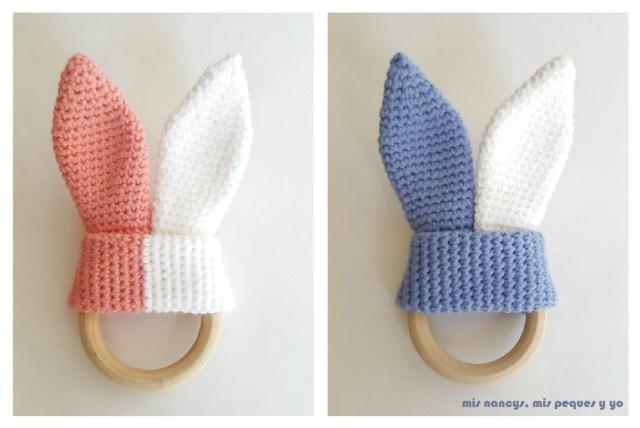 mis nancys, mis peques y yo, mordedores conejito de crochet, en color azul, blanco y rosa