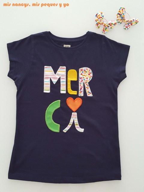 mis nancys, mis peques y yo, tutorial aplique en camiseta merci, camiseta terminada