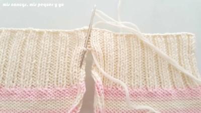 """mis nancys, mis peques y yo, tutorial jersey de punto de verano para niñas """"Fresa y nata"""", coser cogiendo un bucle de un lado"""