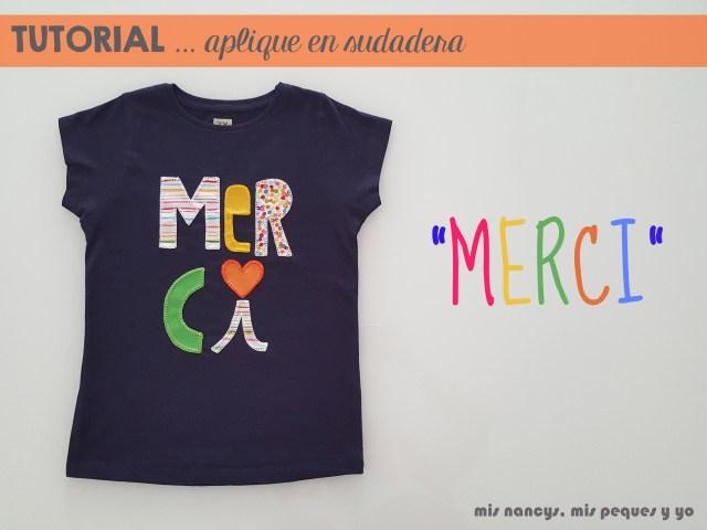 mis nancys, mis peques y yo, tutorial aplique en camiseta merci