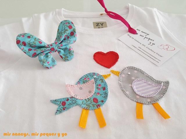 mis nancys, mis peques y yo, coleteros de mariposas, a juego con aplique en camiseta birds in love