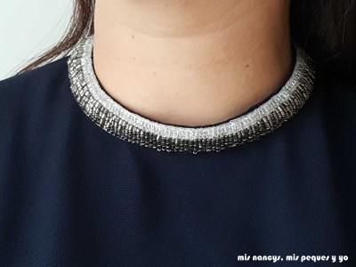 mis nancys, mis peques y yo, blusa de doble capa para mujer, azul marino detalle cuello con abalorios