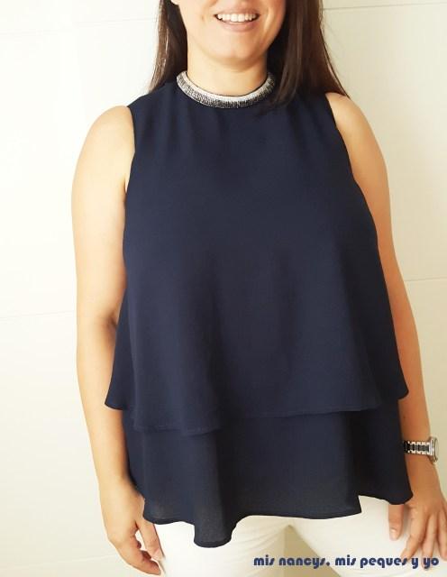 mis nancys, mis peques y yo, blusa de doble capa para mujer, azul marino