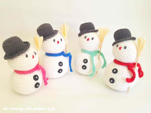 mis nancys, mis peques y yo, muñecos de nieve amigurumi, conjunto de muñecos de nieve amigurumi