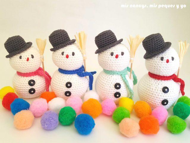 mis nancys, mis peques y yo, muñecos de nieve amigurumi, muñecos de nieve con lluvia de pompones de colores