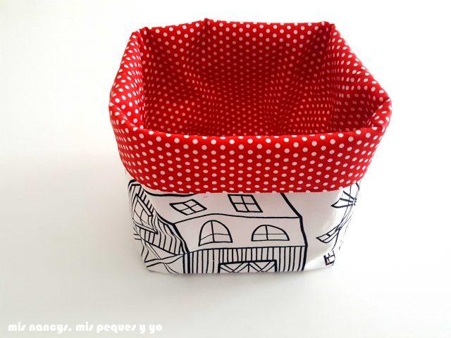 mis nancys, mis peques y yo, cestas de tela reversibles, cesta de tela cuadrada