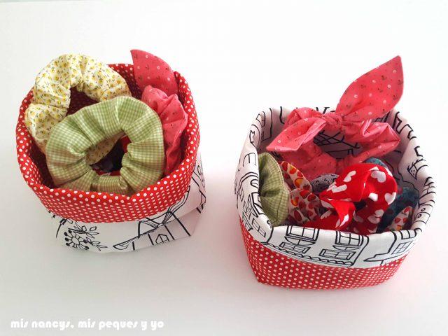 mis nancys, mis peques y yo, cestas de tela reversibles, cestas llenas de accesorios para el pelo