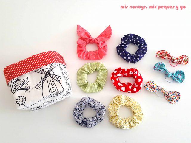 mis nancys, mis peques y yo, cestas de tela reversibles, para guardar accesorios para el pelo