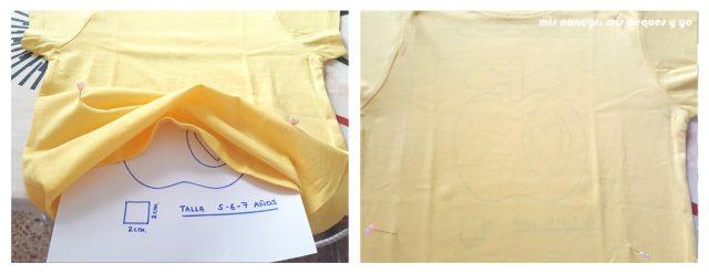 mis nancys, mis peques y yo, tutorial como personalizar camisetas, aplique de manzana, colocar alfileres de referencia