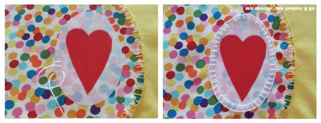 mis nancys, mis peques y yo, tutorial como personalizar camisetas, aplique de manzana, coser punto feston pieza interior