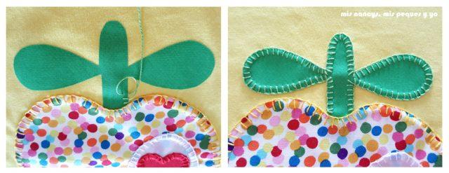 mis nancys, mis peques y yo, tutorial como personalizar camisetas, aplique de manzana, coser punto feston rabito