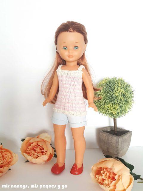 """mis nancys, mis peques y yo, tutorial jersey de punto para Nancy """"Fresa y nata"""", muñeca nancy con jersey de punto"""