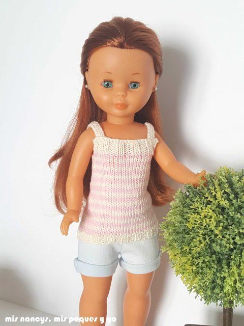 """mis nancys, mis peques y yo, tutorial jersey de punto para Nancy """"Fresa y nata"""", detalle jersey por delante"""