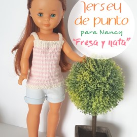 "mis nancys, mis peques y yo, tutorial jersey de punto para Nancy ""Fresa y nata"""