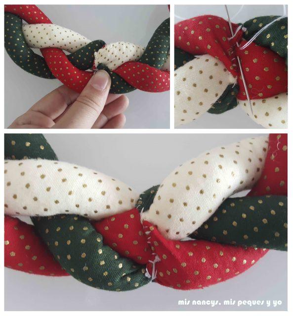 mis nancys, mis peques y yo, tutorial corona de navidad trenzada, coser ambos extremos de la trenza con unas puntadas