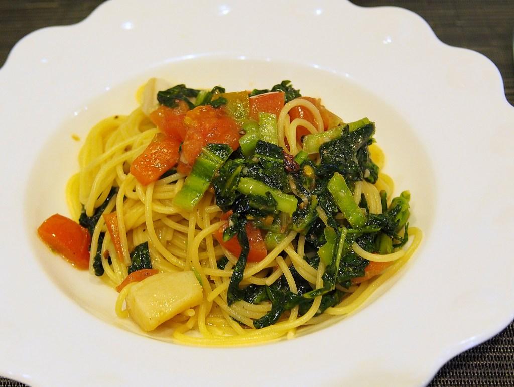 帆立と高菜のガーリックオイルパスタ
