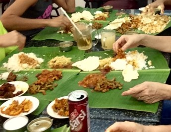 Banana leaf rice, eaten with fingers