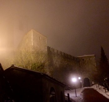 I arrived on a foggy night. Here is the first tower