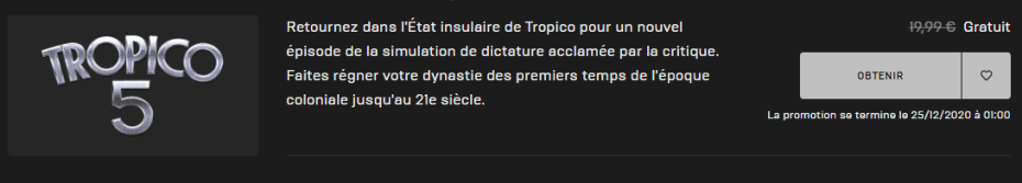 Tropico 5 gratuit, bon plan, free game, epic games, epic store