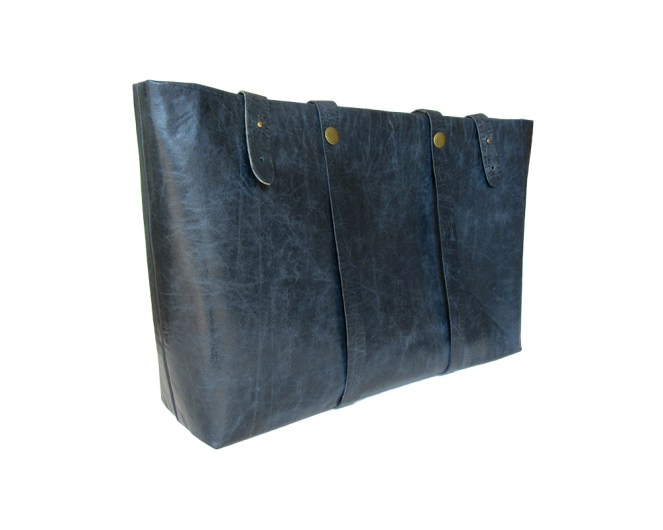 Blue leather tote bag, with blue satin lining. nine internal pockets, one with zipper. by misp https://www.etsy.com/listing/206030619/