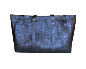 Blue leather tote bag with gold polyester lining. Six internal pockets. by misp https://www.etsy.com/listing/207737210/