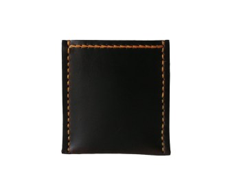 Brown leather card wallet, hand stitched with orange waxed thread. By misp Workshop https://www.etsy.com/listing/221660572/