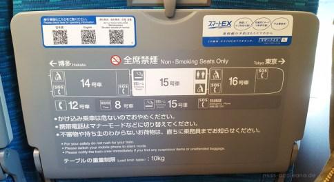 Im Shinkansen gibt es Raucherabteile ...