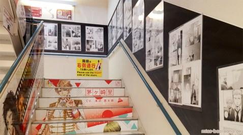 Selbst das Treppenhaus strotzt im Animate nur so vor Manga und Anime
