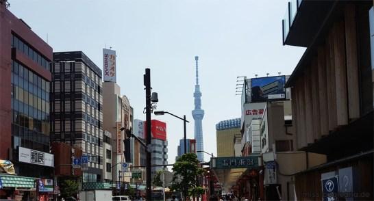 Blick auf den Skytree in Asakusa