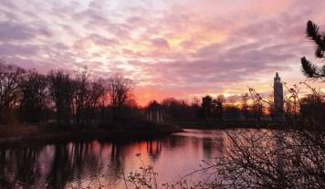 Sonnenuntergangskitsch im Rotehornpark Magdeburg