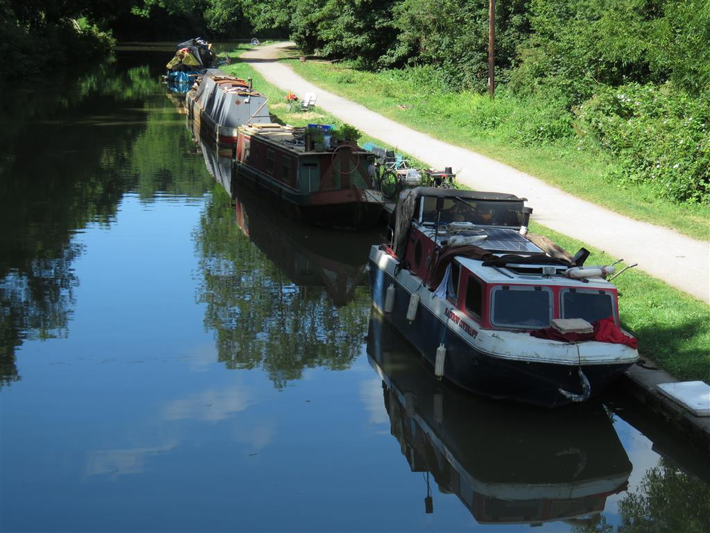Narrowboats along the Canal in Bradford-on-Avon, Wiltshire