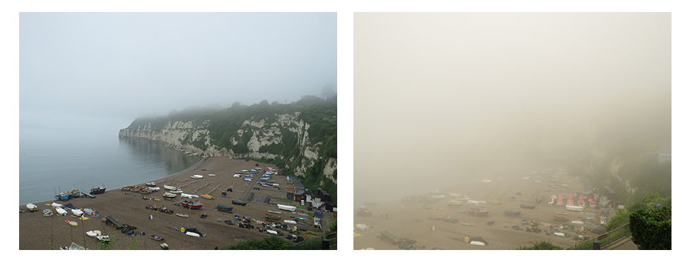 Mist completely covering the harbour at Beer in the course of the morning.