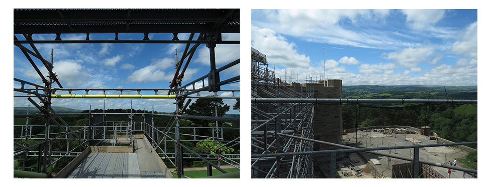 Two images of Castle Drogo under construction