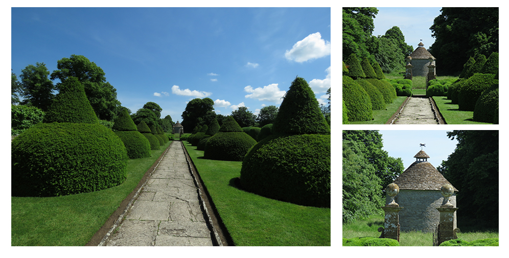 Zooming in along the path at National Trust's Lytes Cary Manor, Somerset