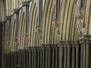 Detail of carved heads in Salisbury Cathedral